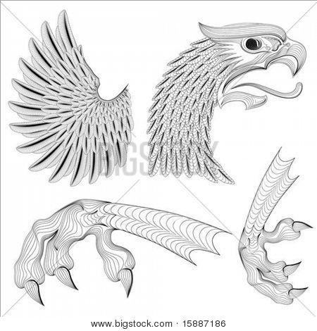 Detailed illustration of eagle wing and talons, easy to change colors.