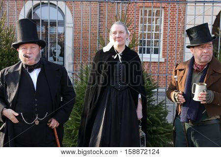 26TH NOVEMBER 2016, PORTSMOUTH DOCKYARD,ENGLAND; Unknown actors playing the part of victorians at the yearly Victorian Christmas festival in Portsmouth dockyard, England, 26th November 2016