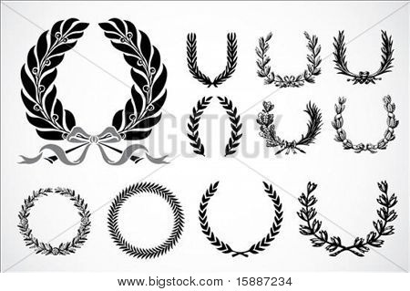 Detailed floral wreath set. Easy to scale to any size.