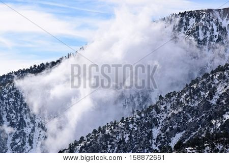 Mountain ridges with Pine Forests and snow during winter season surrounded by clouds taken in Mt Baldy, CA
