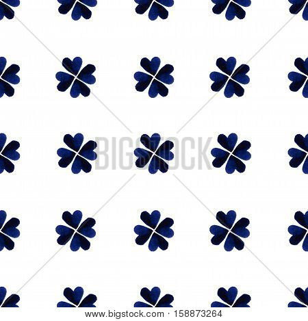 Watercolor Blue Four-leaf Clover Leaves. St. Patrick Day Background. Charity. Hand Painted Illustrat