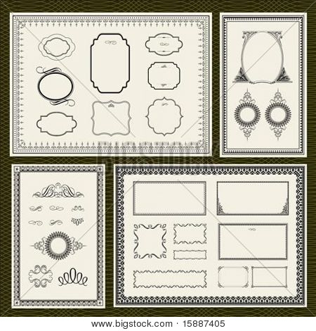 Decorative vector frame set, with seamless background pattern