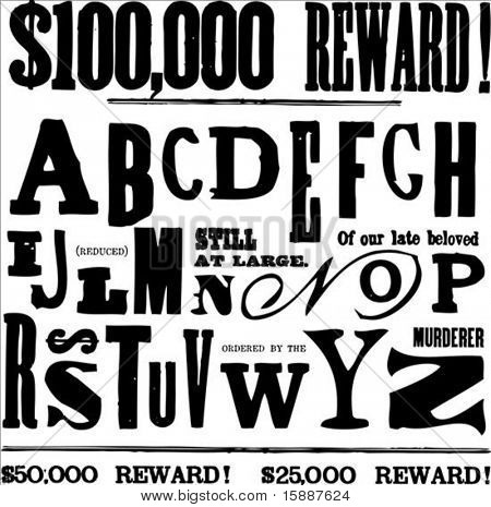 Vector letters and alphabet for creating ransom notes