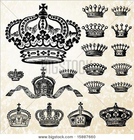 Conjunto detallado de las ilustraciones de la corona. Fácil cambiar colores.