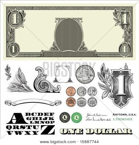Set of detailed vector ornaments loosely based off a one dollar bill, includes vector illustrations of coins: quarter, nickel, dime, and penny