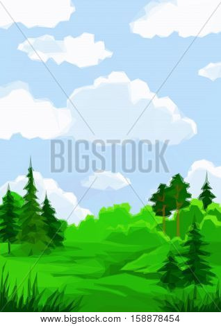 Landscape, Summer Green Forest and Blue Sky with White Clouds, Low Poly. Vector