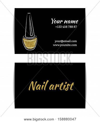 Nail polish business card. Isolated manicure visit card. Golden glitter texture with shiny sparkles. Gold glossing shimmer. Fashion template for beauty salon or nail artist. Vector EPS10 illustration.