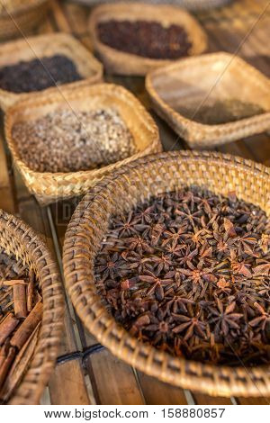 Demonstration of different spices in balinese village