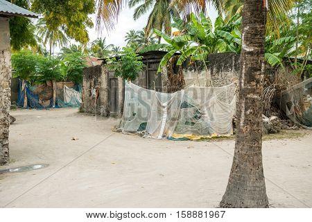 simple street in african village, Zanzibar, Africa
