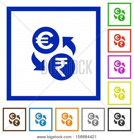 Euro Rupee exchange flat color icons in square frames