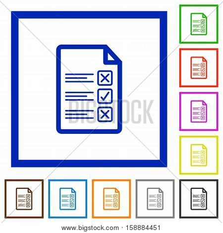 Questionnaire document flat color icons in square frames