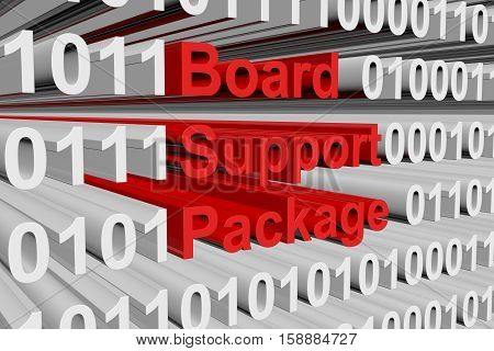 Board Support Package in the form of binary code, 3D illustration