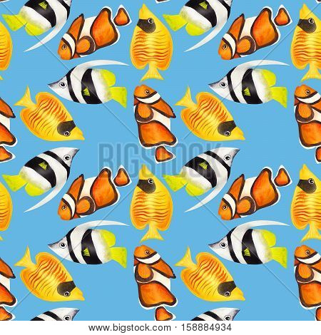 Seamless pattern with colorful watercolor fishes. Hand-drawn watercolour elements. Sea life. Clown fish.