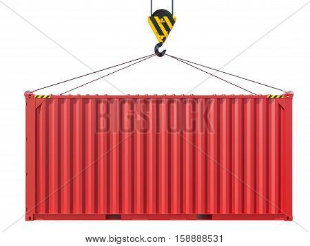 Crane hook lifts metal container. Isolated on white background. 3D rendering