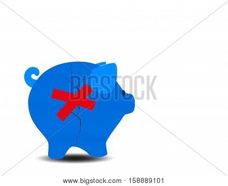 Financial Rescue And Savings Recovery With A Broken Cracked Blue Piggy Bank And Repair Tape To Help