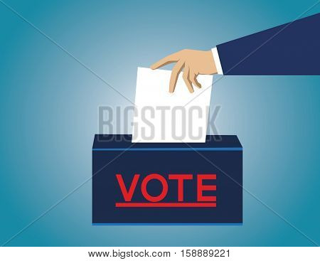 Voting Concept In Flat Style. Hand Putting Paper In The Ballot Box