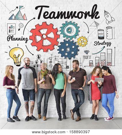 Teamwork Collaboration Unity Corporate Gear Concept