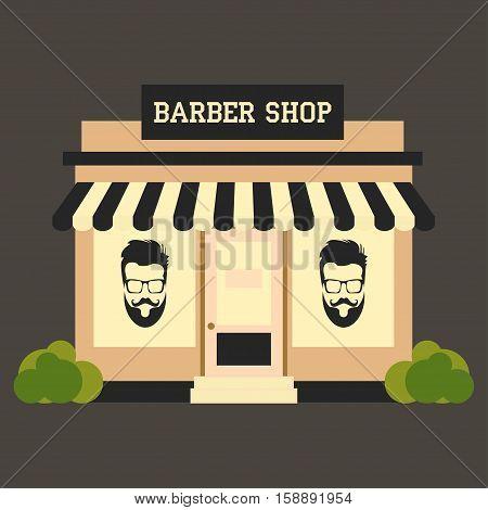Barbershop street building facade small shop front shopping design detailed illustration Vector