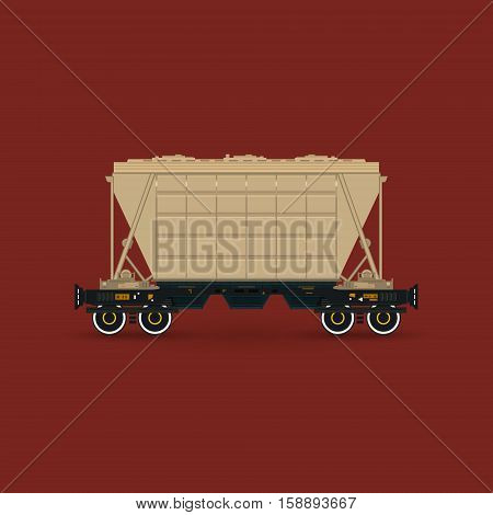 Hopper Car for Transportation Freights on Railway Platform Isolated on Red Background, Railway Transport ,Vector Illustration
