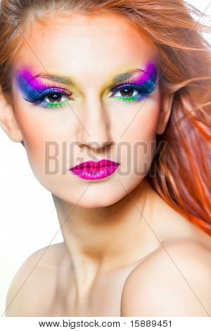 woman with multicolored make-up