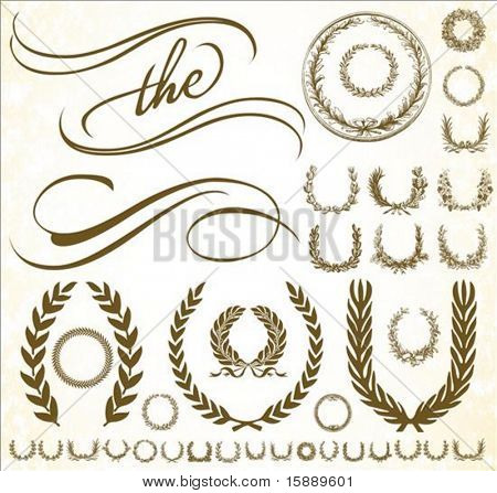 Set of vector ornaments. Perfect for certificates and formal documents.
