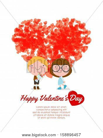 Happy Valentine's Day greeting card background, Couple in love  ,sweetheart , vector illustration.