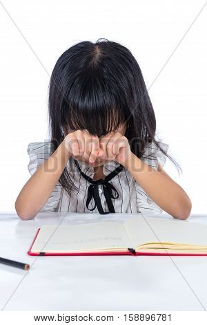 Boring Asian Chinese Little Office Lady Writing Book