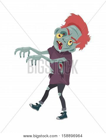 Zombie Character Walking with Stretched Hands isolated on white. Horror fantasy, Halloween concept. Undead creature in flat style. Science fiction cartoon illustration. Horror fantasy. Vector