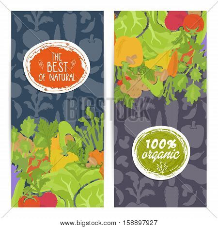 Best organic food vertical flyers set vector illustration. Natural cabbage, tomato, radish, mushroom, peppers, potatoes, carrots. Vegetarian organic raw food, healthy lifestyle, bio and eco nutrition