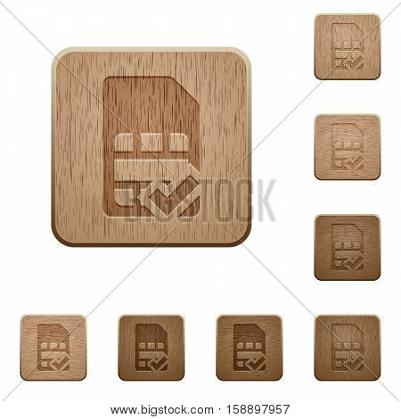 SIM card accepted icons in carved wooden button styles