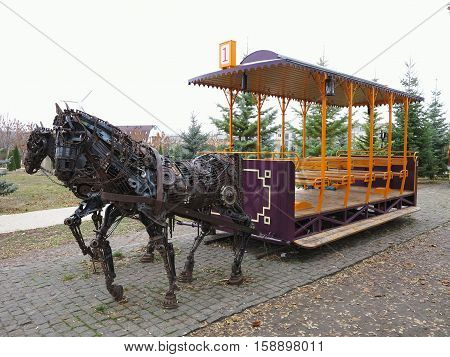 20.11.2016 Moldova Chisinau: Monument to horse tram made from old metallic parts