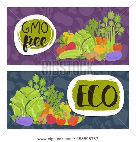 Eco farm food horizontal flyers set vector illustration. Colorful vegetables background. Natural cabbage, tomato, radish, peppers, potatoes, carrots. Organic farming, traditional food, locally grown.