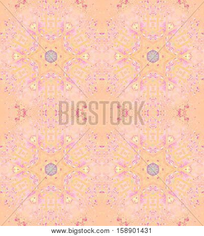 Abstract geometric seamless vintage background. Regular star pattern apricot and peach color with pink, violet and yellow elements, ornate and dreamy.