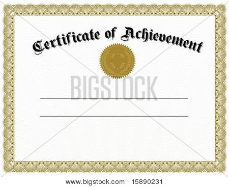 Vector certificate template and gold seal. Easy to edit and scale.