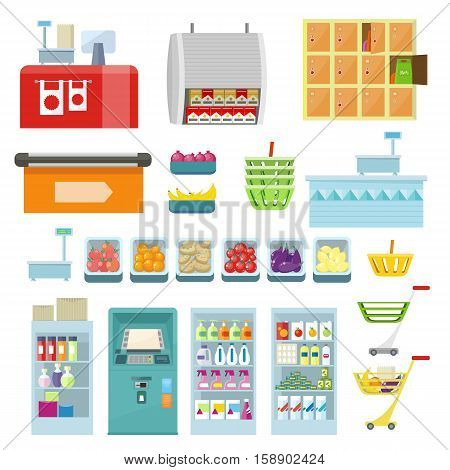 Set of trading equipment for shop vector. Flat style. Collection of furniture, inventory, products for grocery store. ATM, register, lockers, scales, refrigerator, truck basket food illustrations