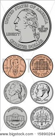 Set of vector coins. All pieces are separate and easy to edit.