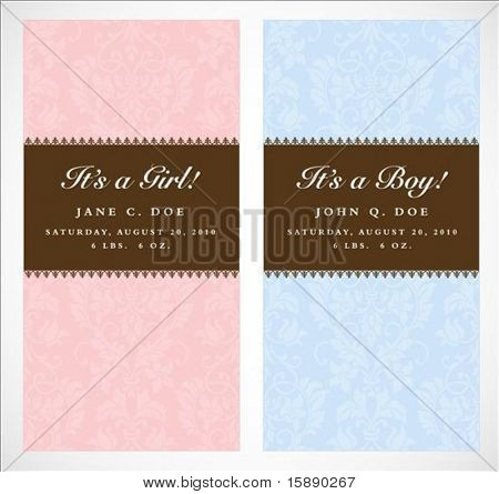 Set of vector boy and girl frames with sample text. Perfect as announcements. Background pattern is included as seamless swatch. All pieces are separate. Easy to change colors and edit.