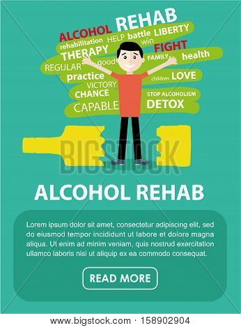 Flat illustration. The banner on the rehabilitation of alcoholics. Happy man freed from alcohol addiction, standing over a broken bottle - alcohol rehab.