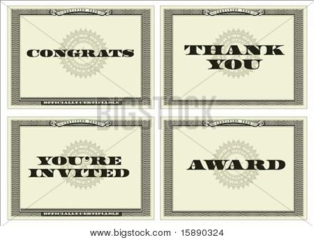 Set of vector money-like backgrounds. Perfect as ornate certificates, awards, or invitations. Wavy background pattern is included as seamless swatch. All pieces are separate.