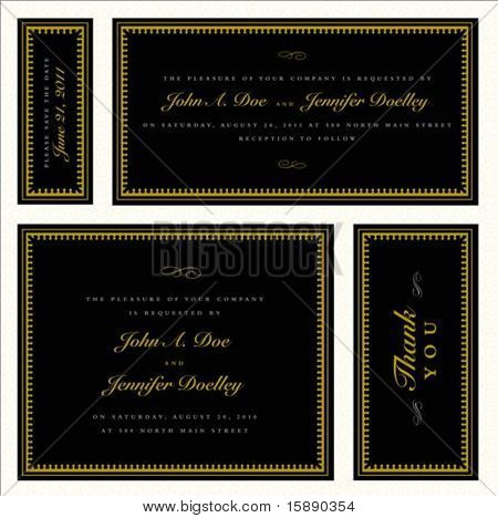 Set of vector matching gold frames with sample text. Perfect as invitations or announcements. Pattern is included as seamless swatch. All pieces are separate.