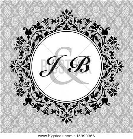 Vetor círculo floral ornamentado frame e com texto de amostra e padrão. Perfeito como convite ou announc