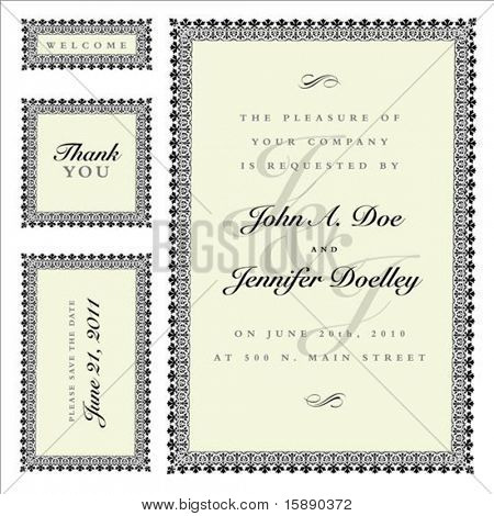 Matching set of ornate vector frames and ornaments with sample text. Perfect as invitation or announcement. All pieces are separate. Easy to change colors and edit.