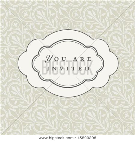 Vector oval ornate frame with sample text and pattern. Perfect as invitation or announcement. Pattern is included as seamless swatch. All pieces are separate. Easy to change colors and edit.