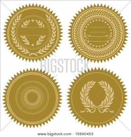 Conjunto de selos de ouro do vetor. Ótimo para prêmios e certificados. Fácil de editar