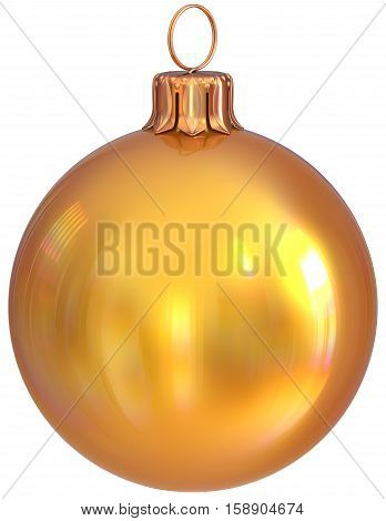 Christmas ball bauble yellow golden New Year's Eve decoration shiny wintertime hanging adornment sphere souvenir. Traditional ornament happy winter holidays Merry Xmas symbol closeup. 3d illustration