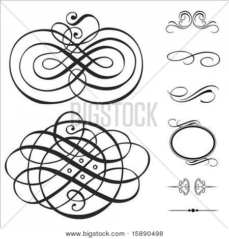 Vector Swirl Ornament Set. Stücke sind separat und leicht zu bearbeiten.