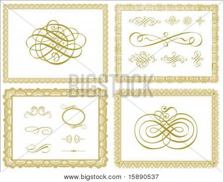 Set of vector certificate borders and ornaments. Easy to edit.