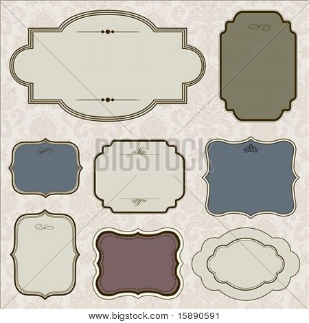 Vector ornate frame set and background pattern. Perfect for invitations and ornate backgrounds.  Pattern is included as seamless swatch.
