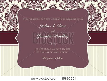 Vector two-tone background and frame with sample text. Perfect as invitation or announcement. Pattern is included as seamless swatch. All pieces are separate. Easy to change colors.