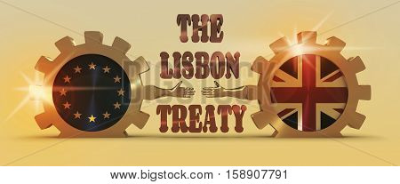 United Kingdom exit from Europe relative image. Brexit named politic process. National flags on golden cog wheels. 3D rendering. Handshake metaphor. Lisbon treaty text